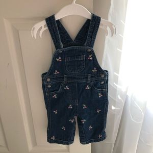 •baby girl• floral embroidered jean overalls